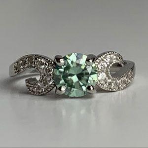 Jewelry - 1.05 Carat VVS1 Peridot Moissanite Ring, Sz 8